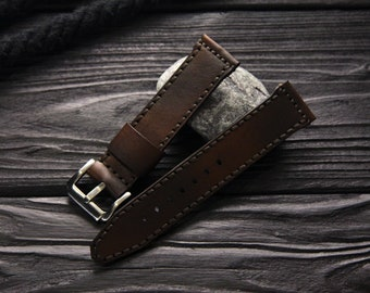 "Leather Watch band ""Stream"", 18mm, 20mm, 22mm, 24mm, Leather watch band, watch strap, Apple watch leather band, leather watch strap"