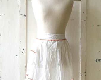 vintage sheer white with orange ric-rac trim pocket apron white shabby chic apron