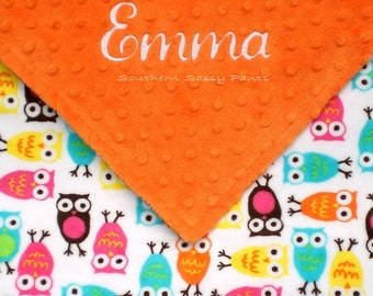 Personalized Baby Girl Owl Blanket -- Owl Minky and Minky Dot Blanket ,  Baby - Toddler Size Blanket 30x36