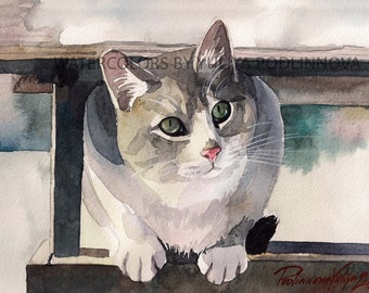Tabby Gray Cat Printable Image of Original Watercolor Painting Instant Download Art Digital Print Picture Wall Decor Artwork with Cat