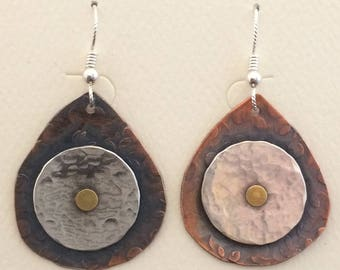 Hammered Mixed Metal Earrings
