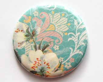 Flower pocket mirror, pocket mirror, Flower, Floral, Turquoise, mirror, purse mirror, gift for her, gift for Mom, Bridesmaid gift (3484)