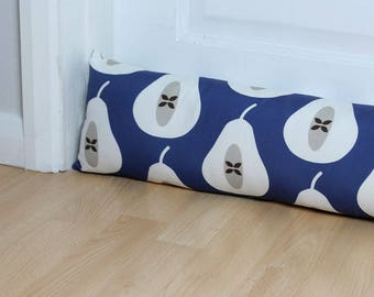 Draught Excluder Indigo Blue Pear Print Patterned Fabric Scandi Home Modern Interior Retro Style Kitchen Long UK