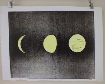 Phases of the moon woodcut print - original astronomy art