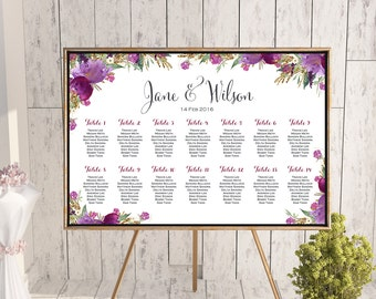 Find your Seat Chart, Purple Wedding Seating Chart, Wedding Seating Poster, Wedding Seating Sign, Wedding Seating Board TH59  WC140