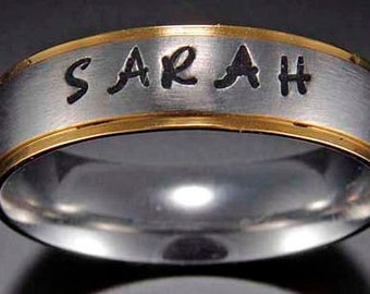 Stainless Steel Name Ring - Hand Stamped With Your Name - Pet's Name - Any Name