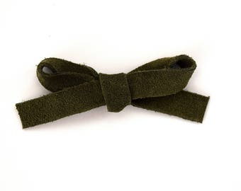 Olive Suede LARGE Leather Bow Clip Photo Prop for Newborn Baby Little Girl Child Adult Christmas Holiday Headwrap Pretty Dark Green Bow