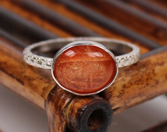 Sunstone Ring, Textured Band, Sterling Silver Ring, Handmade Ring, Custom Sizing