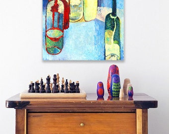 """Contemporary Art - Still life -Home decor -Kitchen Gift - BLUE HOTEL - bottles - Oil on canvas Painting for home - Art - 20x23"""""""