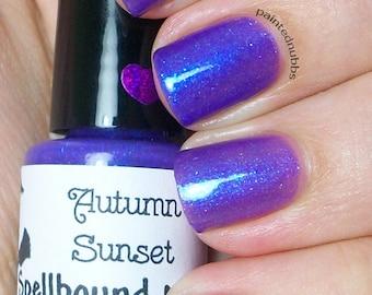 Autumn Sunset - Custom Purple Blue flakies rainbow shimmer Nail Polish