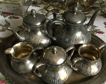 Pairpoint Bedford Massachusetts Company Metal/Silverplate Tea Set