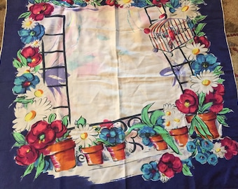 Vintage scarf with birdcage and potted plant motif double sided print