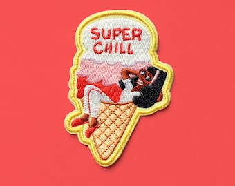 Super Chill Patch | ice cream patch, iron on patch, patches for jackets, patches for bags, embroidered patch, ice cream socialite, chill out