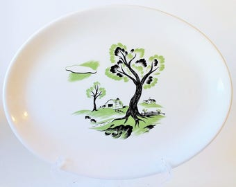 Simplicity by Canonsburg Large Serving Platter with 22 Kt Gold Rim, 1940's – 1950's Vintage