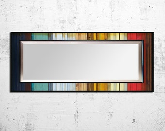"Reclaimed Wood Mirror - 32x78""- Leaner Mirror Floor Mirror ""Gradient Reflection"" - Modern Wood Wall Art - Wood Sculpture - Abstract Wood Art"