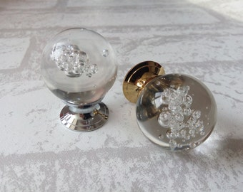 Bubble Glass Knobs Crystal Knob Drawer Knobs Dresser Pulls Handles Kitchen Cabinet Knob Decorative Knobs Pull Handle Hardware Clear Silver