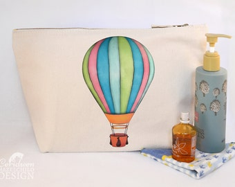 Hot Air Balloon Canvas Wash Bag, Large Zipper Pouch, Makeup Bag, Toiletry Bag, Accessory Bag