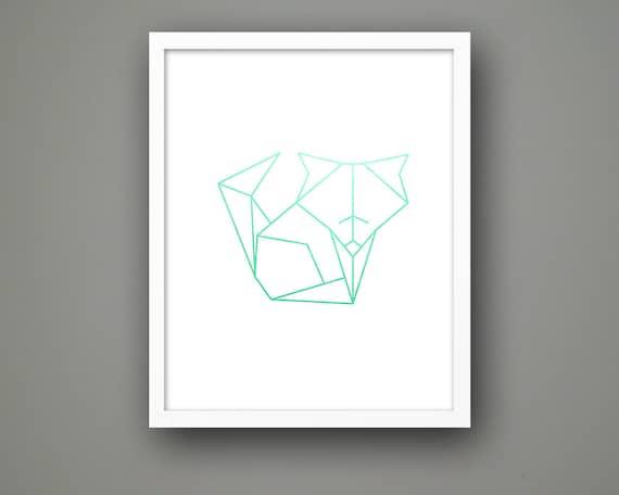 Cute Simple Line Art : Cute geometric fox line printable art instant download digital