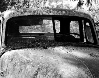 Black and White Truck Photography - Rustic Man Cave Art - Vintage Truck Art Photo - Classic Truck Print - Old Truck Auto Art Rustic Wall Art