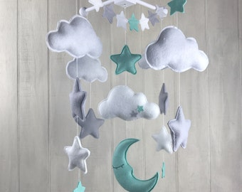 Baby mobile - moon mobile - cloud mobile - star mobile - large mobile - clouds and stars nursery - nursery decor - mint and grey