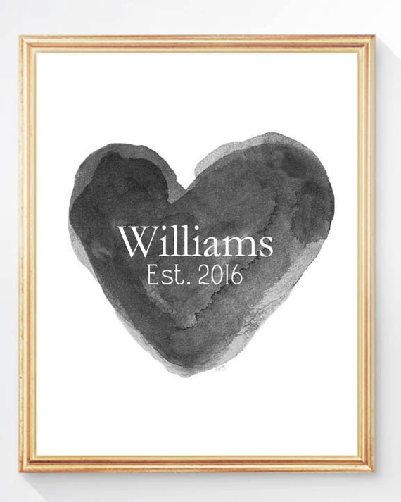 Black Bridal Shower Gift, 8x10 Print with Family Name and Wedding Date