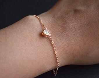 Pink gold bracelet 5mm stone
