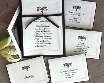 Renaissance Wedding Invitation Set - triple bevel border,black hand bordered Invitations, elegant, layered, ribbon - AV1311