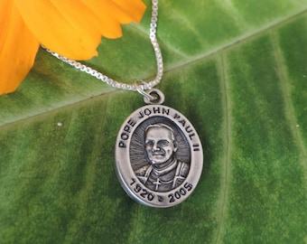 Pope John Paul II Medal Charm  Sterling Silver with Chain