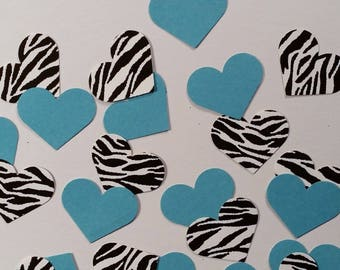 "Hearts ~ 1"" Zebra Print & Teal Valentine Confetti Mix, Color on Both Sides,  Baby Shower, Wedding, Flower Girl Toss"