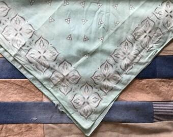Vintage aqua blue bandana / cotton aqua turquoise handkerchief / aqua blue bandana