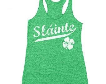 Slainte Irish Cheers Clover Funny Gaelic Celtic Party Pride Racer Back Tri-Blend Tank Top DT0410