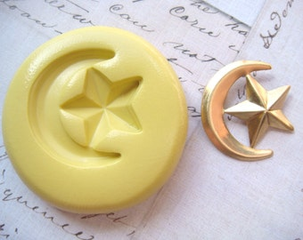 MOON with STAR - Flexible Silicone Mold - Push Mold, Polymer Clay Mold, Pmc Mold, Jewelry Mold