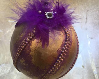Christmas Ornament - Christmas Bauble - Purple Bauble with feathers - Buy 10 and you get 1 free