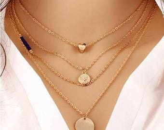New Gold Chain Pendant Necklace Fashion Jewelry Multi Layer Necklace For WomenAccessories
