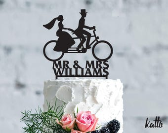 Bicycle wedding cake topper - Wedding Cake Topper- Customizable Wedding Cake Topper- custom Bike Cake Topper for Wedding- wedding Gift