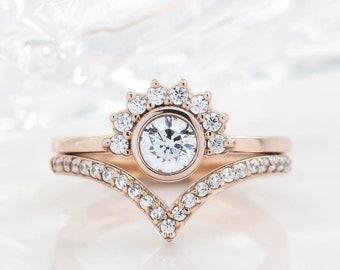 Half Moon Diamond Halo and Diamond Engagement Ring Diamond Wedding Band Bridal Set - Isabella Ava Set