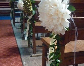 """20  medium Chair /pew poms with 1"""" ribbon paperoms uk"""