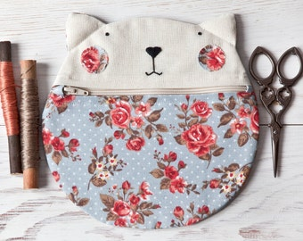 Blue School Supplies, Cat Bag, Floral Cosmetic Bag, Cat Lover Gift, Roses Pencil Case, Floral Makeup Bag, Cat Purse, Blue Bag First Day
