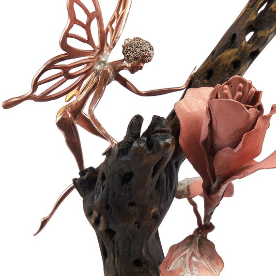 Fairy and Flower Copper and Cholla Cactus Wood Sculpture
