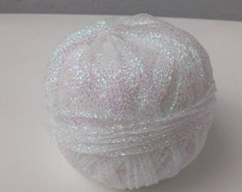 White Metallic Yarn, White Yarn, Metallic Yarn, Glitter Yarn, White Metallic thread, Lurex Yarn, Sparkle Yarn, White Yarn Bowl