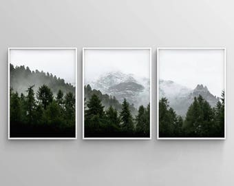 Set of 3 Landscape Art, Green Forest Printable, Set of 3 Forest Print, Nature Printable, 3 Piece Wall Art, Modern, Minimalist, Misty, Decor