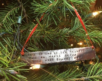 Bible Verse Metal Stamped Christmas Ornament - Silver