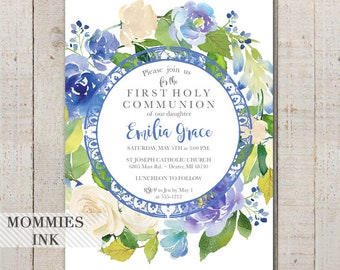 Floral Girls First Holy Communion Invitation, Dedication Invite, Christening Invite, Watercolor Invitation, Baptism Invite, Purple Flower