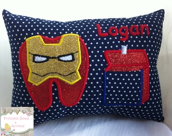 Tooth fairy pillow for boys ironman avengers