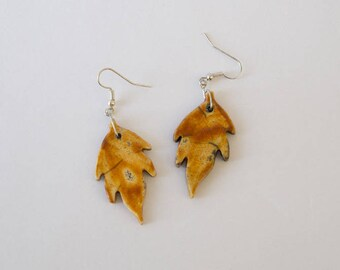 Leaves shape earrings with raku ceramic orange