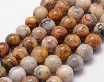 25% off SALE 6mm Crazy Lace Agate Beads Gemstone Yellow Brown Red Stone Beads (12 beads)  Gemstone Smooth Round Stone Beads