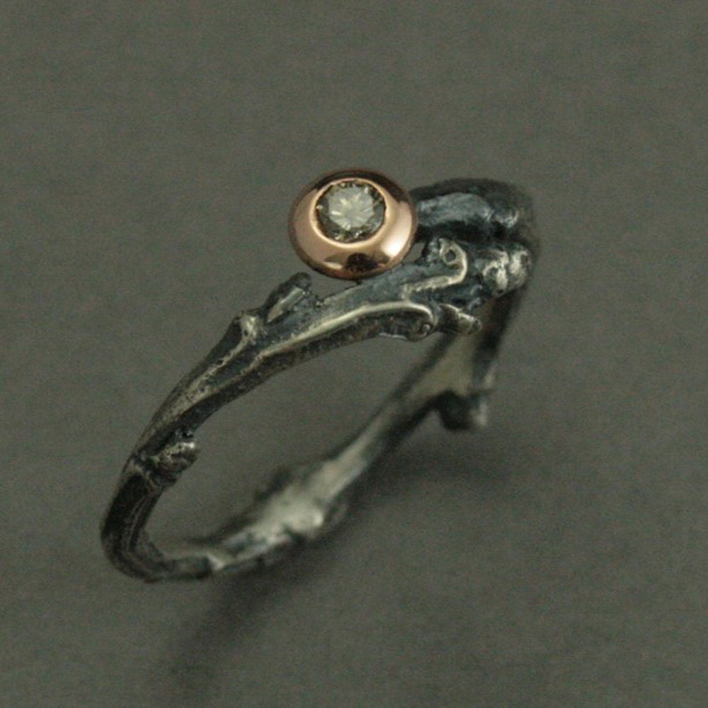 Heart of the Forest Engagement Ring Sterling Silver Rose