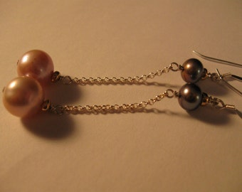 Long Pearl Dangle Earrings,pearl earrings,drop earrings,silver earrings, dangle earrings, pearl jewelry, silver jewelry, long earrings,pearl
