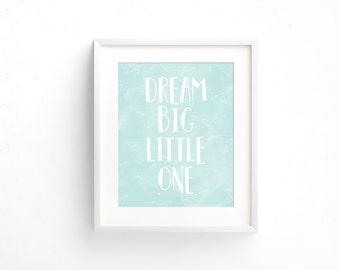 Dream Big Little One, Boy Nursery Decor, Girl Nursery Decor, Neutral Nursery, Baby Room Wall Art, Nursery Wall Art, Baby Shower Gift, Gray