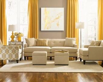 """32"""" Abstract painting original acrylic wall art large decor Gold White Original Abstract Acrylic Painting Wall Art"""